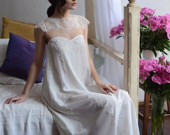 Long Silk Bridal Nightgown With Lace F2, Bridal Lingerie, Wedding Lingerie, Honeymoon, Sleepwear, For Her, For Woman