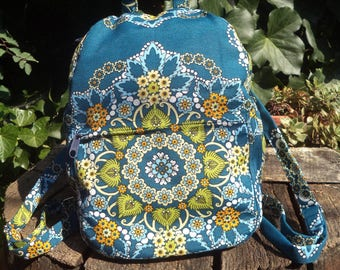 Floral canvas small backpack