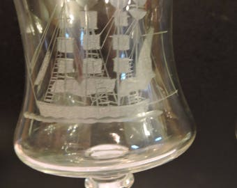 Clipper ships etched wine glasses. Set of 6