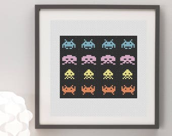 Space Invaders Cross Stitch Pattern, Instant Download, Nerdy, Aliens