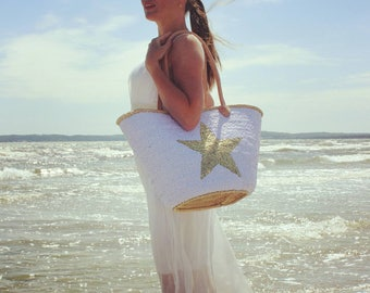 Sequin tote, beach basket, shopper bag with sequins and star or anchor