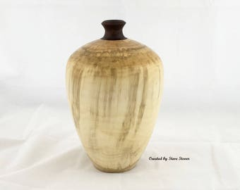 Woodturned Hollow Form - Large Maple Hollow Form Urn - Wood Vase - One-of-a-Kind - Wood Turned Art