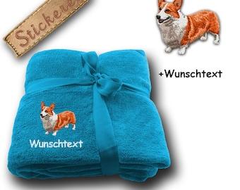 Fluffy Blanket embroidered with Dog Welsh Corgi Pembroke + own words