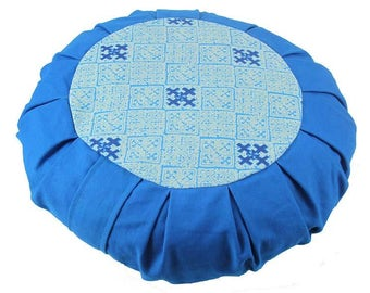 Meditation Cushion - with organic buckwheat fill, Blue Hmong Print - SKU: 18182-02