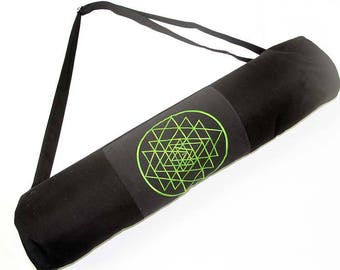 Embroidered Yantra Yoga Mat Bag - LIME, SKU:17120-03