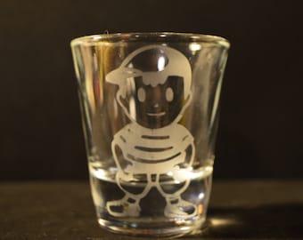 Earthbound etched shot glass Ness fan art