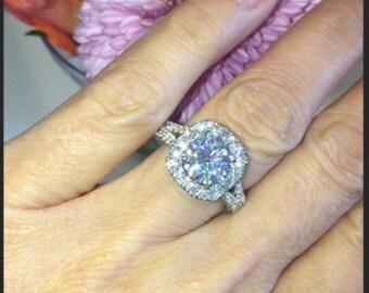 Forever One Moissanite Engagement Ring 8mm Round Center 1.25ct natural diamonds Halo Ring 18k white gold Pristine Custom Rings