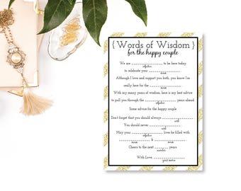 Printable Wedding Libs, Gold Wedding, Wedding Mad Libs, Reception Mad Libs, Printable PDF, Guest Libs, Printable Wedding Games, Gold Glitter