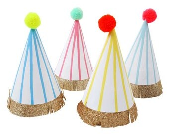 Party Hats (8), Meri Meri Neon Stripe Birthday Party Hat, Medium Pom Pom Birthday Hat, Girl Party Hat, Boy Party Hat, Animal Party Hat