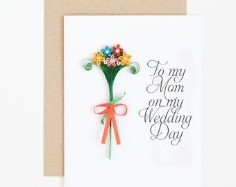 to my mom on my wedding day card - card for the mother of the bride - wedding thank you card - to my mother card - mother of the groom card