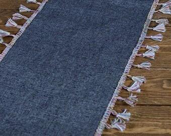 Boho Jean Runner - Denim Runner with Fringe - Table Runner - Blue Jean Runner - Cotton Runner - Home Decor - Table Decor - Choose Length