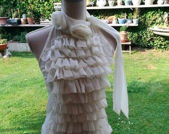 Vintage ivory ruffle blouse shirt clearance beige rose chiffon cloth italian style wedding ceremony wedding chic blouse