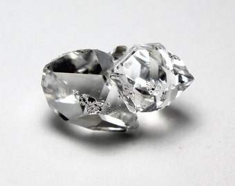 Herkimer Diamond Cluster of 3 Mined in New York Sparkly Clear
