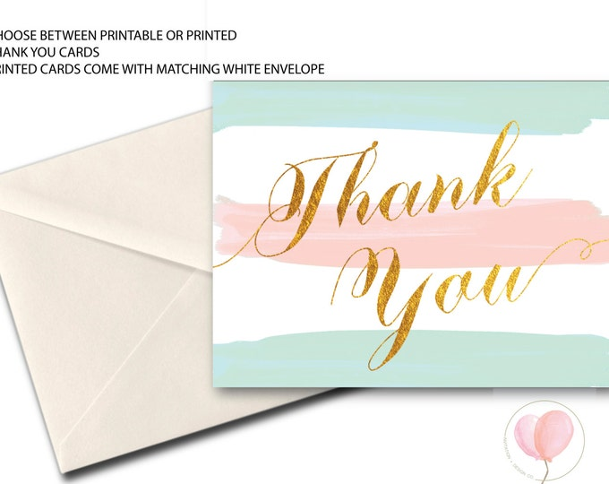 Pink Blue Mint Gold Thank You Card // Folded Thank You // Printed // SANTA BARABRA COLLECTION