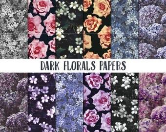 Dark Florals Papers, Floral Digital Paper, Wedding digital papers, Floral scrapbook paper, floral pattern digital paper, spring background
