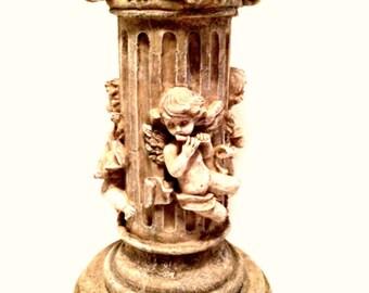 Musical Cherubs Column Pedestal Plant Stand Art Display 12.5 inches Tall