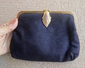 Gorgeous Brown Faille Whiting and Davis Evening Bag , Art Deco Gatsby Style