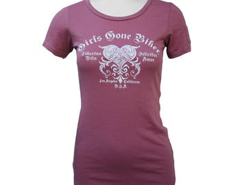 Girls Gone Biker® Gothic Heart Scoop Neck Short Sleeve Women's Fitted Motorcycle T-shirt, Pink