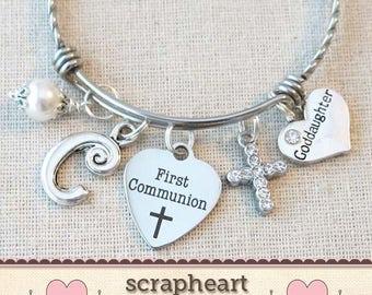 FIRST COMMUNION Gift for Goddaughter, Custom Girls First Communion Gift, Goddaughter Gift, Personalized 1st Communion Charm Pearl Bracelet-S