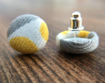 "Yellow/ Grey/ White- Button Earrings- 1/2"""