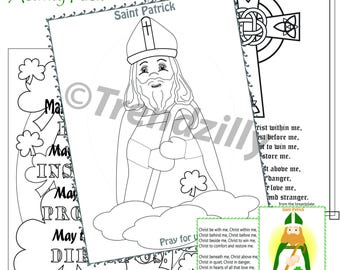 St. Patrick's Day Activity Pack, St. Patricks Day, St Patrick Coloring Pages, St. Patrick Holy Card, Printable Instant download.