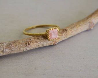 Crown Ring Gold, Square Ring, Gold Stone Ring, Crown Ring Gold, Gold Ring, Gold Jewelry, Handmade Jewelry, Unique Jewelry, Womens Jewelry
