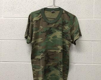 Vintage Retro Camo 50/50 tshirt army marines navy