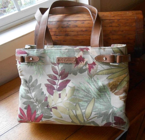 Tropical Fabric Handbag Vintage La Cabana Purse With Faux Leather Trim