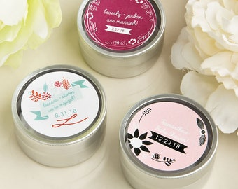 Personalized Vintage Design Round Silver Mint Tins- Wedding Shower Party Favor 60-200 Qty  FC4672V
