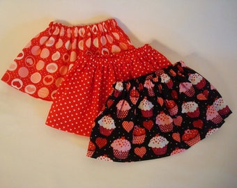 Clearance Set of 3 Heart Skirts for American Girl Doll and 18-inch Dolls –Perfect for Party Favors or Mix and Match - Heart & Cupcake Skirts