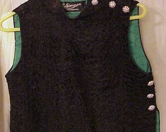 Lambs Wool Black Vest with Rhinestone Button's Liehterman Philadelphia