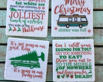 Funny Christmas Vacation Coasters, set of 4, Tumbled Marble, National Lampoon, Christmas, Holidays, Gift Ideas, Hostess Gift, Decor