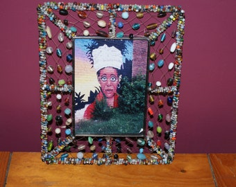 Pretty Beaded Picture Frame Created From a Vintage Metal Frame