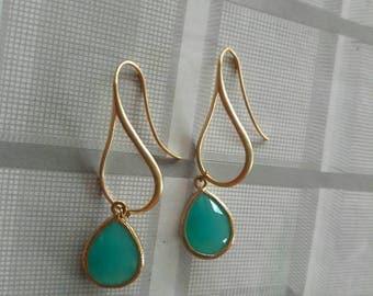 Aqua Gold Earrings, Bridesmaid Earrings, Wedding Earrings.