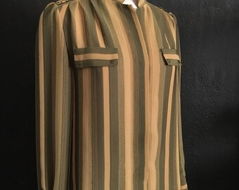 Vintage Striped Blouse / Long Sleeves