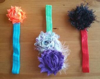 Baby Headbands Set of 3 - Shabby Chic Baby Headbands - Cute Headbands - Hair Decorations - Baby Cuteness - Black, Purple, Green, Orange