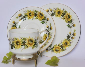 Rare Vintage Paragon 'Sunflowers' Bone China Trio, Mid Century Floral Tea Cup, Saucer, Cake Plate, 1960s Teacup Set, High Tea, Kitchen Decor