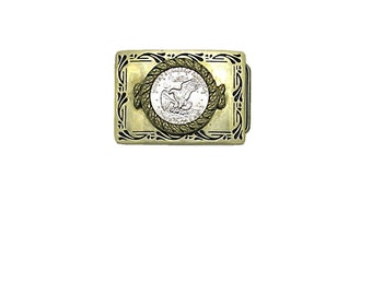Solid Brass Belt Buckle with Eisenhower Dollar Coin Vintage Apollo 11 Mission Insignia BBB Belt Buckle   Flying Eagle Buckle   Baron Buckle