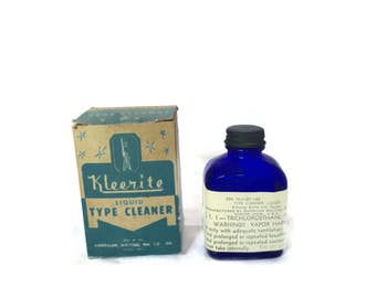 Antique Kleerite Typewriter Type Cleaner Boston    Mass    Cobalt Blue Ink Bottle with Paper Label and Box    American Writing Ink Co. Mom