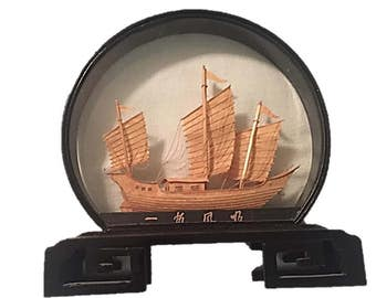 Vintage Asian Cork Carved Picture Diorama Shadow Box Ship |  Nautical Decor |  Black Lacquer Frame Chinese Oriental Decor