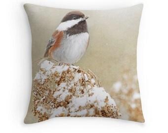 Chickadee Pillow, Winter Decor, Bird Decor, Bird Pillow, Chickadee Cushion, Neutral Pillow, Bird Throw Pillow, Wildlife Pillow, Song Birds