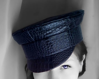 Women peaked cap, Women chic hat, Women leather cap, Women leather hat, Leather peaked cap, Women captain's cap, Fisherman cap, Military hat