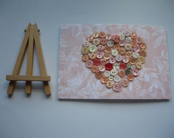 REDUCED - Mixed Media Heart Shape Decorated with Vintage Buttons