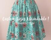 Custom 1950s 50s Inspired Atomic Print Full Skirt | Mid Century Full Gathered Modest Skirt | JW Clothing Retro Rockabilly Skirt