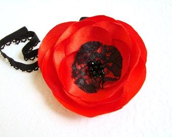 Baby Poppy headband  Poppy Hair clip Red flower headband Toddler Poppy Headband Poppy hair flower Red flower hairpiece Poppy girls headband