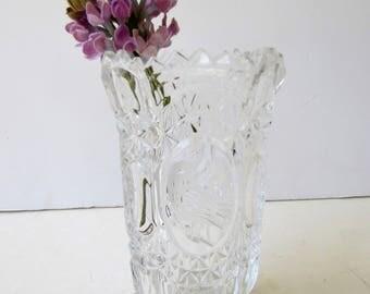 Vintage Crystal Vase - Cut Crystal Hofbauer Crystal -Byrdes Collection- Flower Vase -