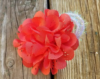 Salmon Hair Clip, Hair Accessory, Girls Accessory, Photo Prop, Spring Flower, Baby Girl Hairclip, Salmon Flower Headband, Girls Flower Clip