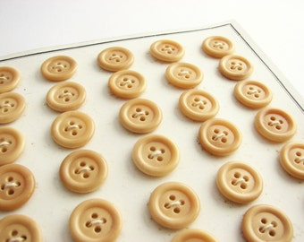 35 small tagua nut buttons, vintage button card with shirt buttons, unused!