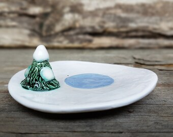 Ceramic Small Fir Tree Ring Dish, jewelry holder, jewlery dish, catchall, ceramic spoon rest, tea bag rest,pottery trinket dish