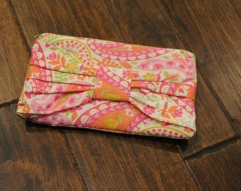 Pink & Orange Multi Color Bow Clutch Purse